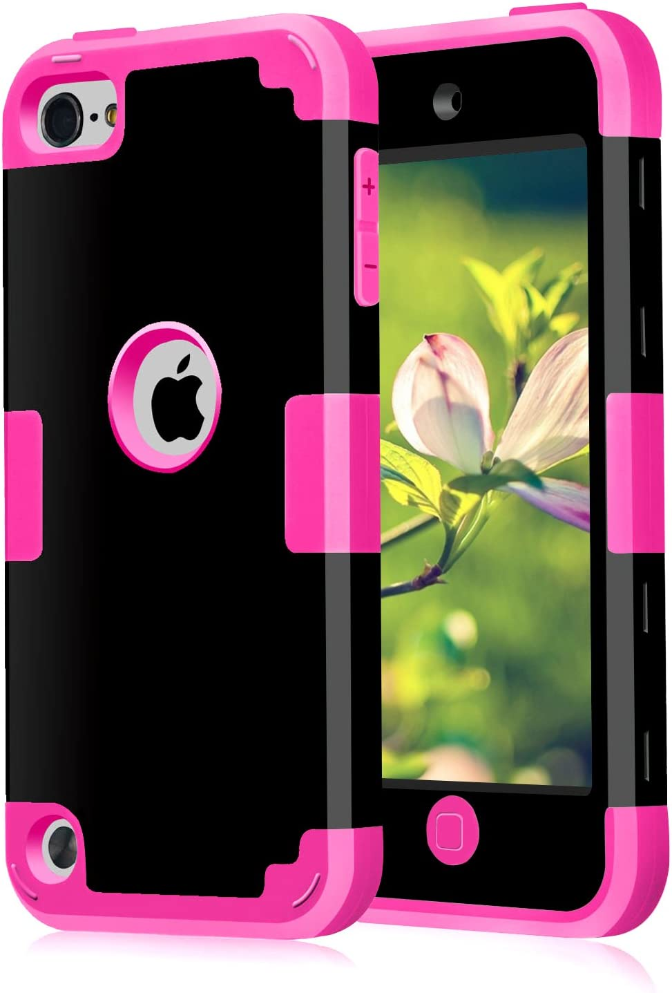 Case for iPod Touch 5 Case for iPod Touch 6 Case, Dual 3 in 1 Hard PC Case + Silicone Shockproof Heavy Duty High Impact Armor Hard Case Cover for Apple iPod Touch 5 6th Generation (Black+hot Pink)