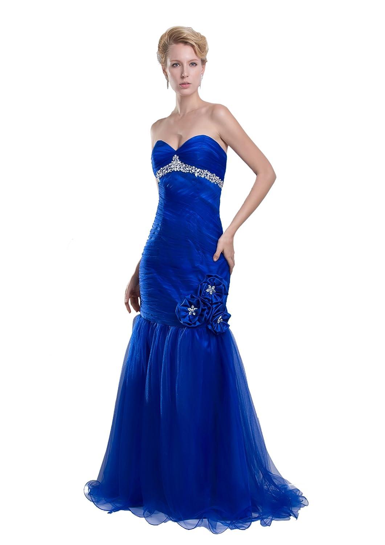 Dresstells Glamourös Damen Kleid Bodenlang Tüll Herzförmig Abendkleid Ballkleider mit Schnürung