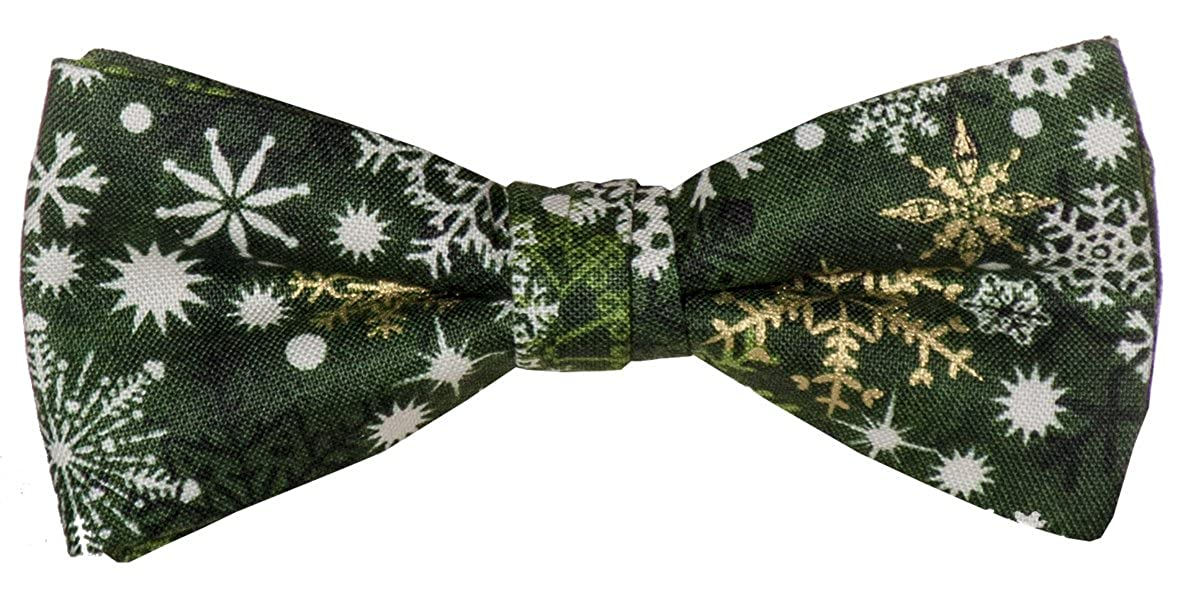 Green Pre-tied Bow Tie White /& Gold Snowflake Design for Baby to Men