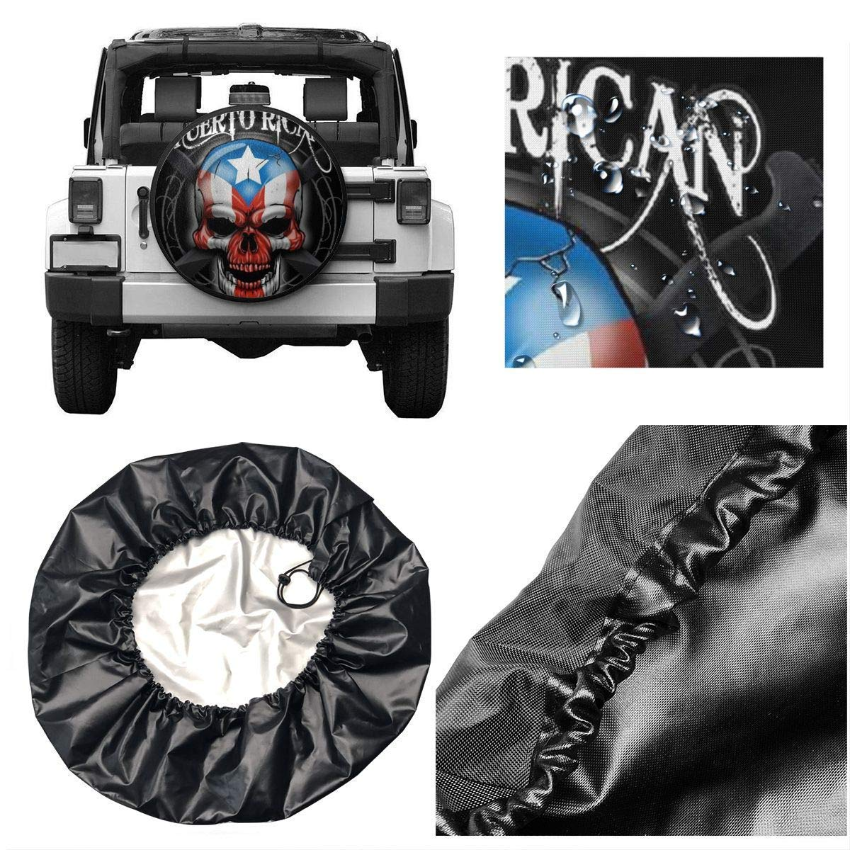 Puerto Rico Skull Potable Polyester Universal Spare Wheel Tire Cover Wheel Covers Jeep Trailer RV SUV Truck Camper Travel Trailer Accessories 15 in Vbnbvn Reserveradabdeckung
