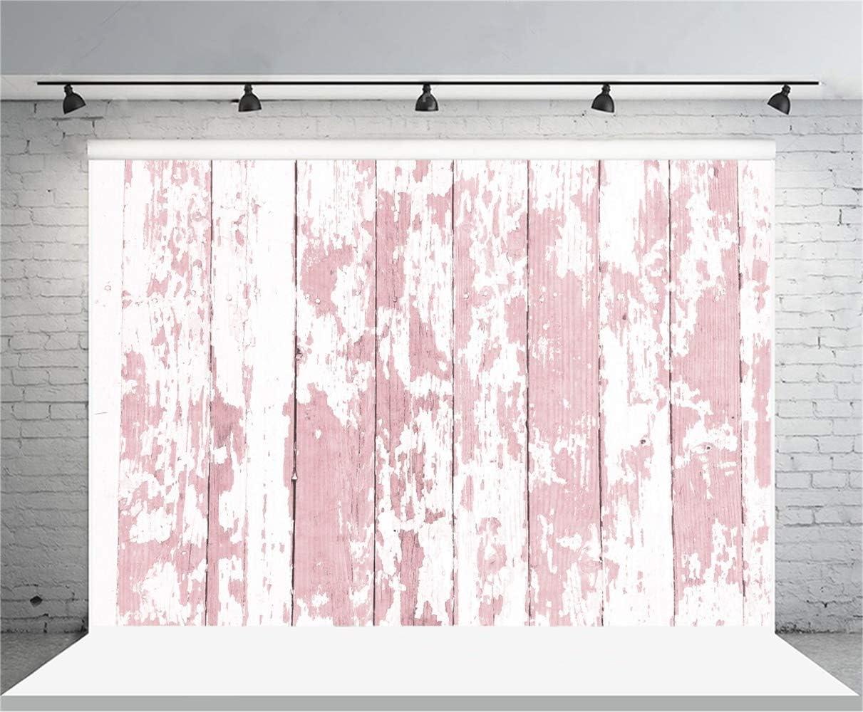 GoEoo 10x7ft Grunge Peeling Pink Wooden Board Backdrop Vinyl Mottled Faded Rustic Vertical Striped Wood Plank Background Child Adult Artistic Portrait Kids Clothes Shoot Event Banner Studio