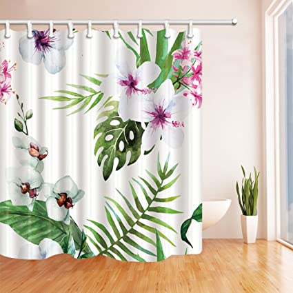 NYMB Tropical Floral Shower Curtains Hibiscus Flower With Banana Leaves In Palm Tree Mildew