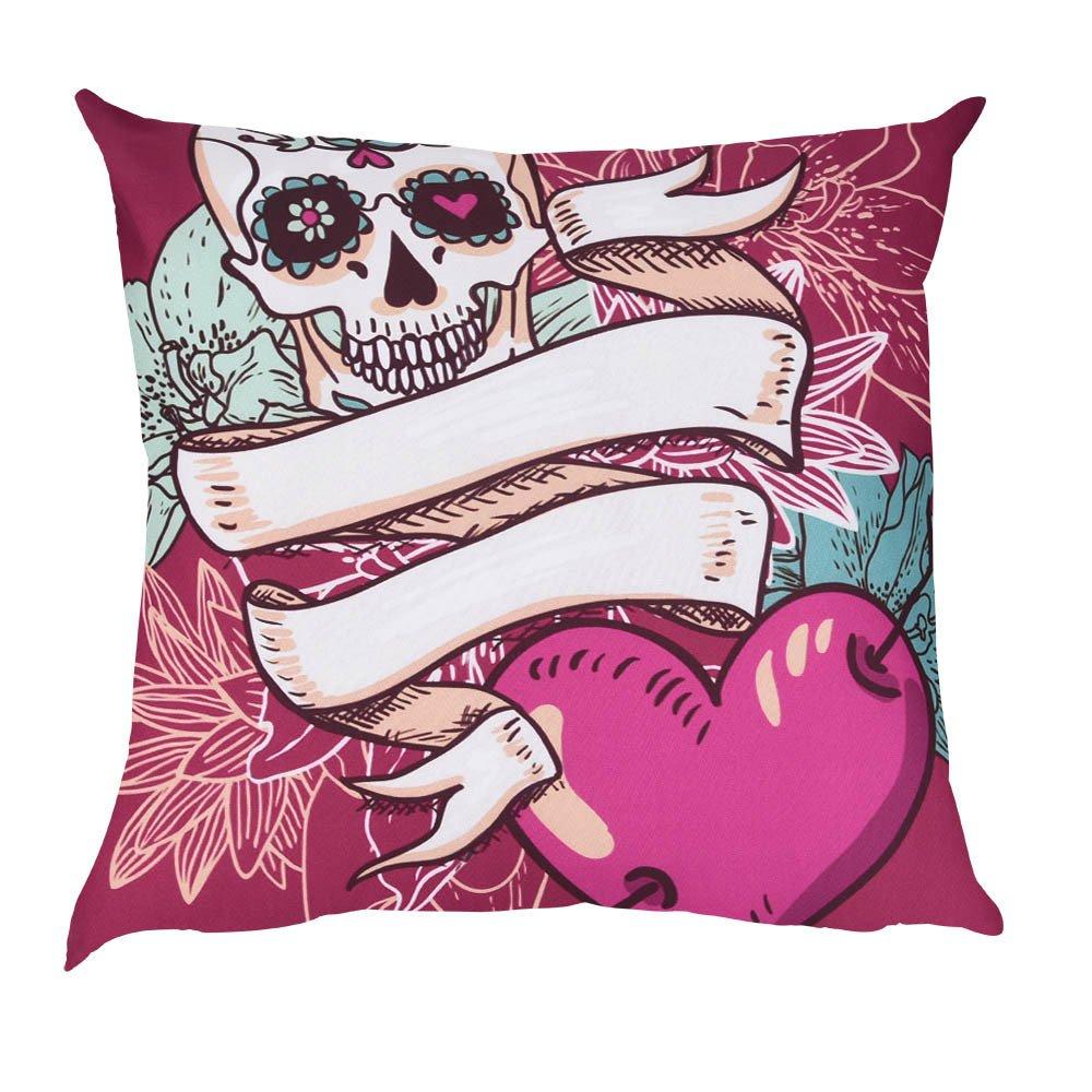 Throw Pillowcase, Kimloog 18x18 Skull Floral Print Car Home Decor Cushion Cover (B)