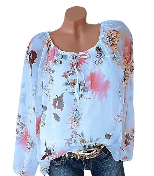 Smalltile Primavera y Otoño Tops Mujeres Casual Suelto Impresión Shirts Hermoso tee Túnicas Moda Cuello Barco