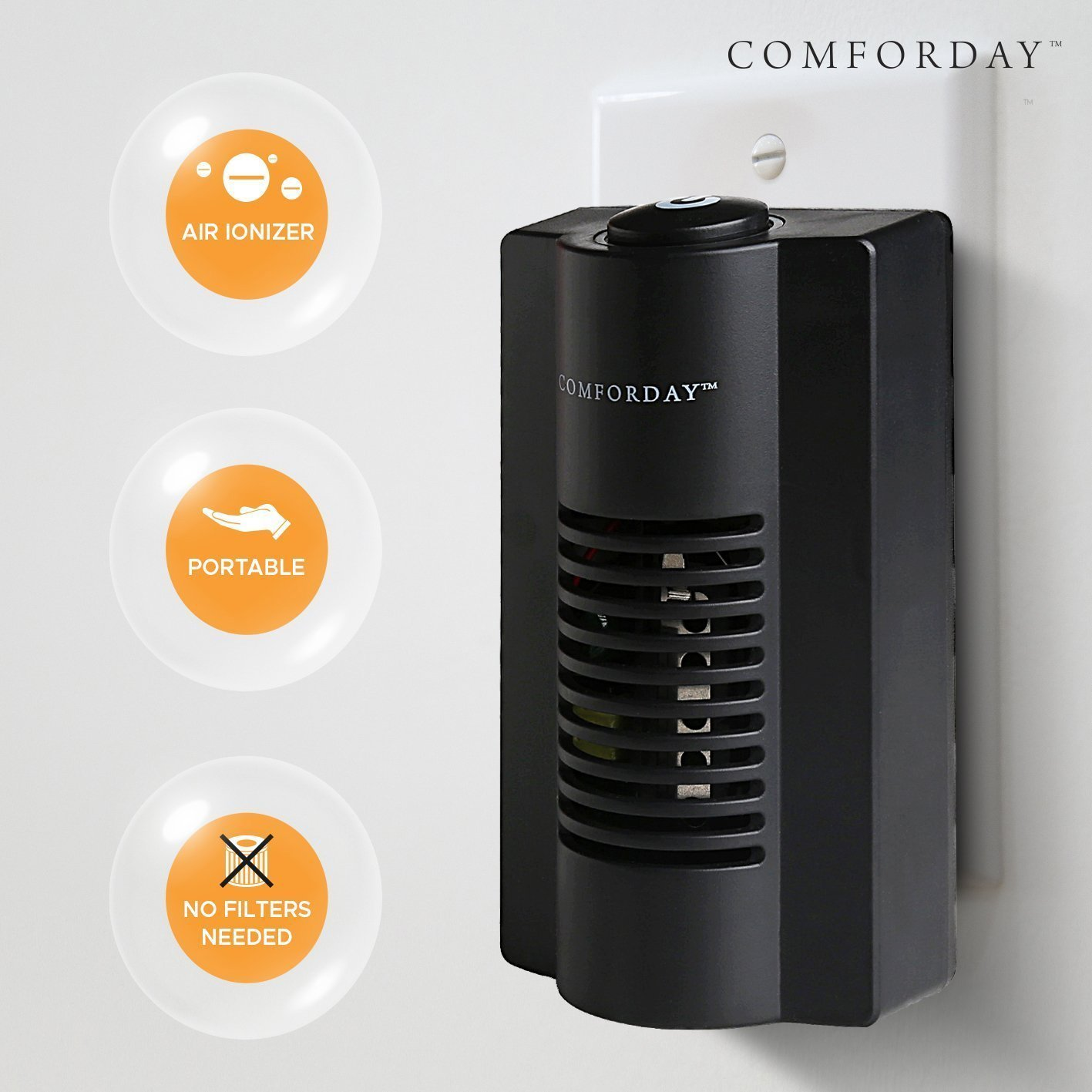 Comforday 2-in-1 Indoor Ionic Air Purifier - Plug-in Odor Eliminator, Air Sanitizer and Odor Reducer with Night Light