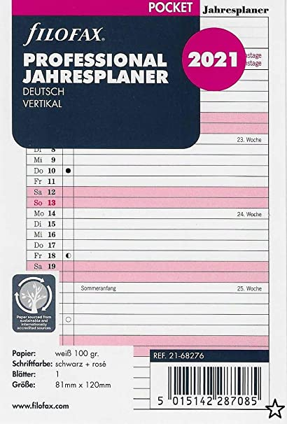 Filofax 2021 - Agenda anual de bolsillo (en alemán): Amazon ...