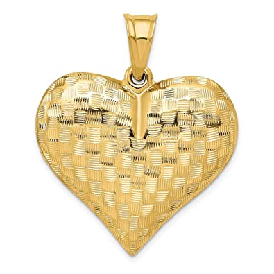 14K Yellow Gold Textured Puff Heart Pendant Pendants /& Charms Jewelry
