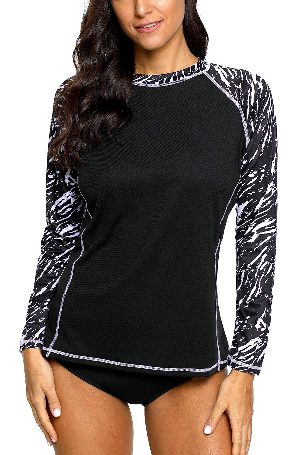 CharmLeaks Rash Guard Women Swim Shirts Long Sleeve SPF Shirts Ladies Swimwear Tops M by CharmLeaks
