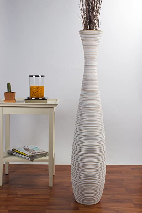 Amazon Leewadee Tall Big Floor Standing Vase For Home Decor 9x44 Inches Wood White Wash Kitchen Dining
