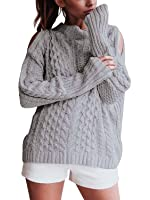 Simplee Women's Casual Cold Shoulder High Neck Ribbed Pullover Sweater Knit Jumper