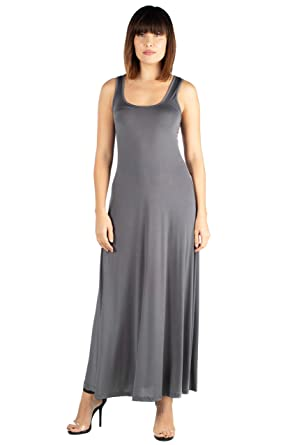 3551c435a5dc 24seven Comfort Apparel Women's Clothes Sleeveless Scoop Neck Maxi Tank Top  Dress - Made in USA