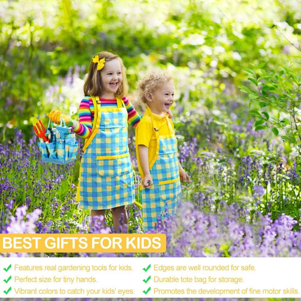 Apron Gifts for Boys and Girls Kids Gardening Set Storage Bag Kids Gardening Tools Set Colorful Children Garden Tools Fun STEM Toys with Watering Can Trowel Sprayer Shovel Gloves Rake