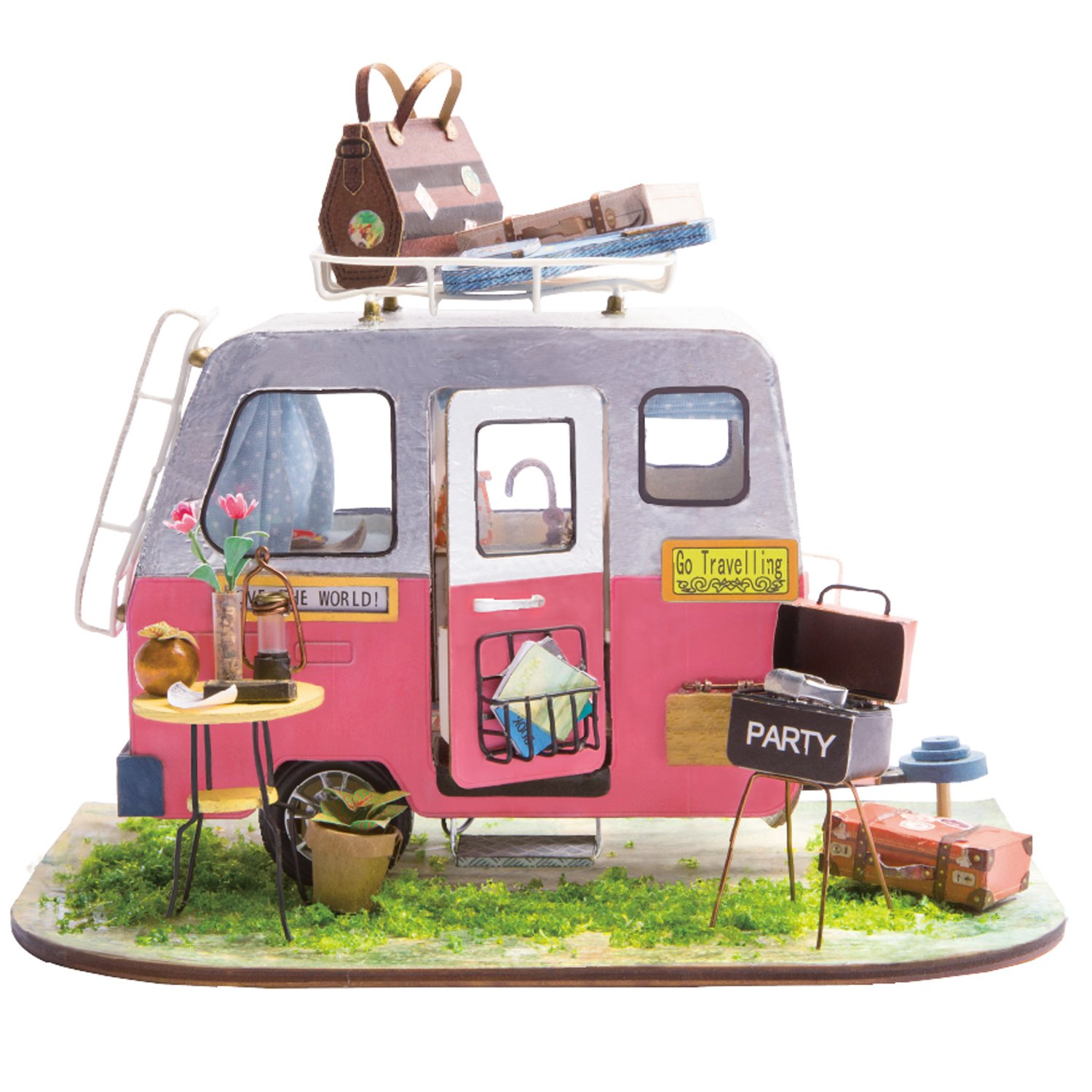 Rolife Mini Diy House Kit-Woodcraft Construction Kit-Wooden Model Building Set-Mini House Crafts-Creative Birthday For Boys Girls Women and Friends(Camper)
