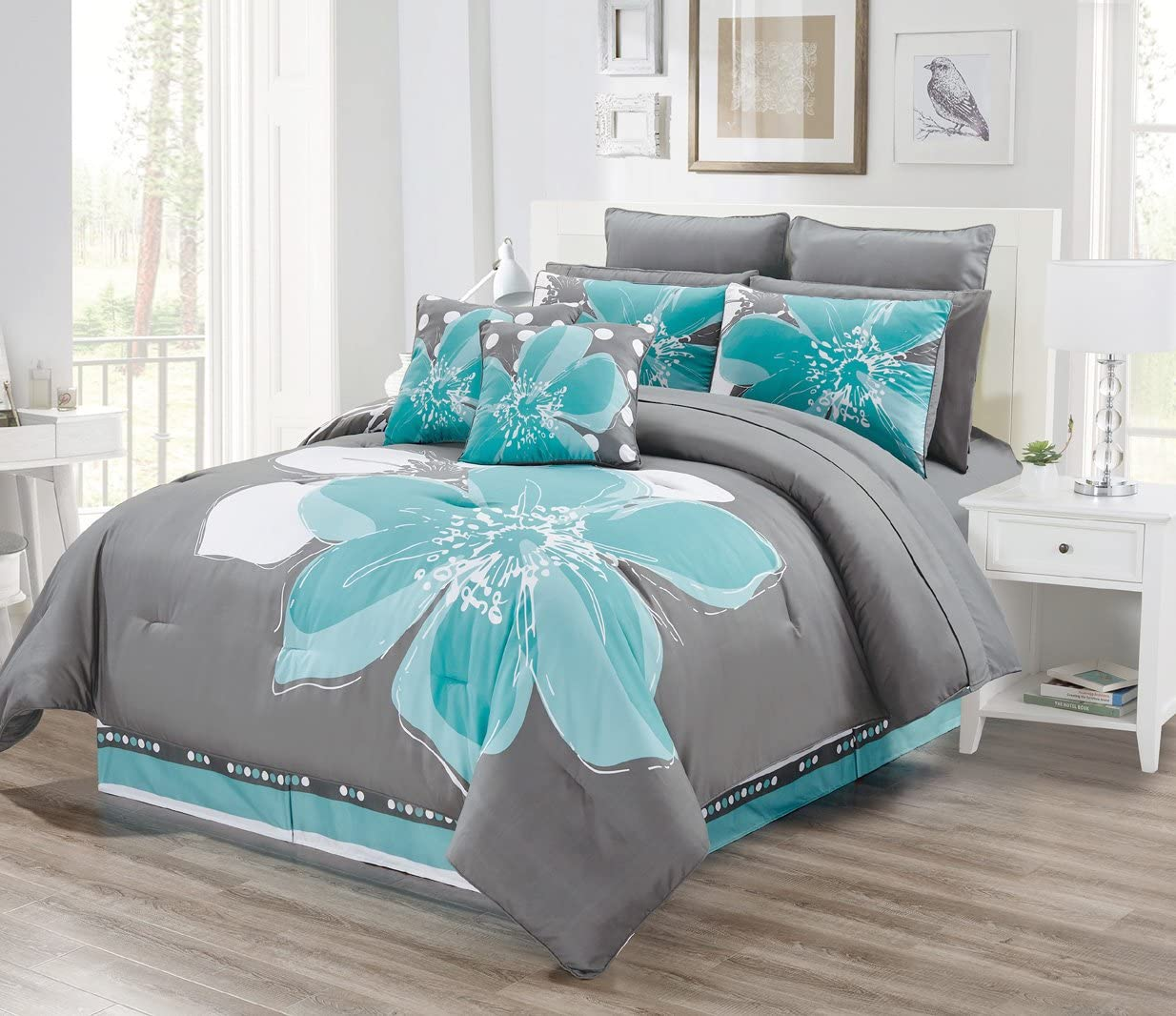 12 - Piece Aqua Blue, Grey, White Floral Bed-in-a-Bag California Cal King Size Bedding + Sheets + Accent Pillows Comforter Set