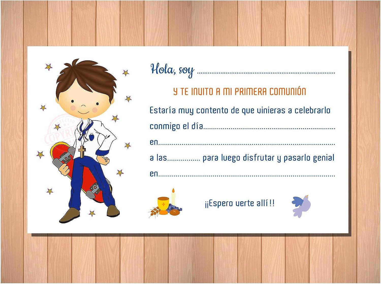 Invitaciones y Recordatorios para Primera Comuni/ón Ni/ño Skater 20 invitaciones 20 sobres. /¡Sus Amiguitos Alucinar/án!