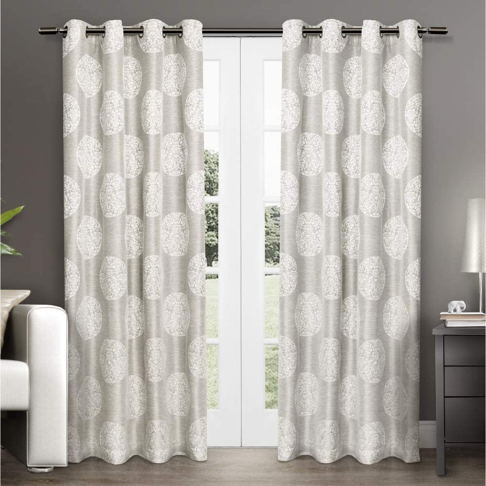 Exclusive Home Curtains Home Akola Medallion Linen Jacquard Grommet Top Curtain Panel Pair, 54x96, Dove Grey, 2 Piece