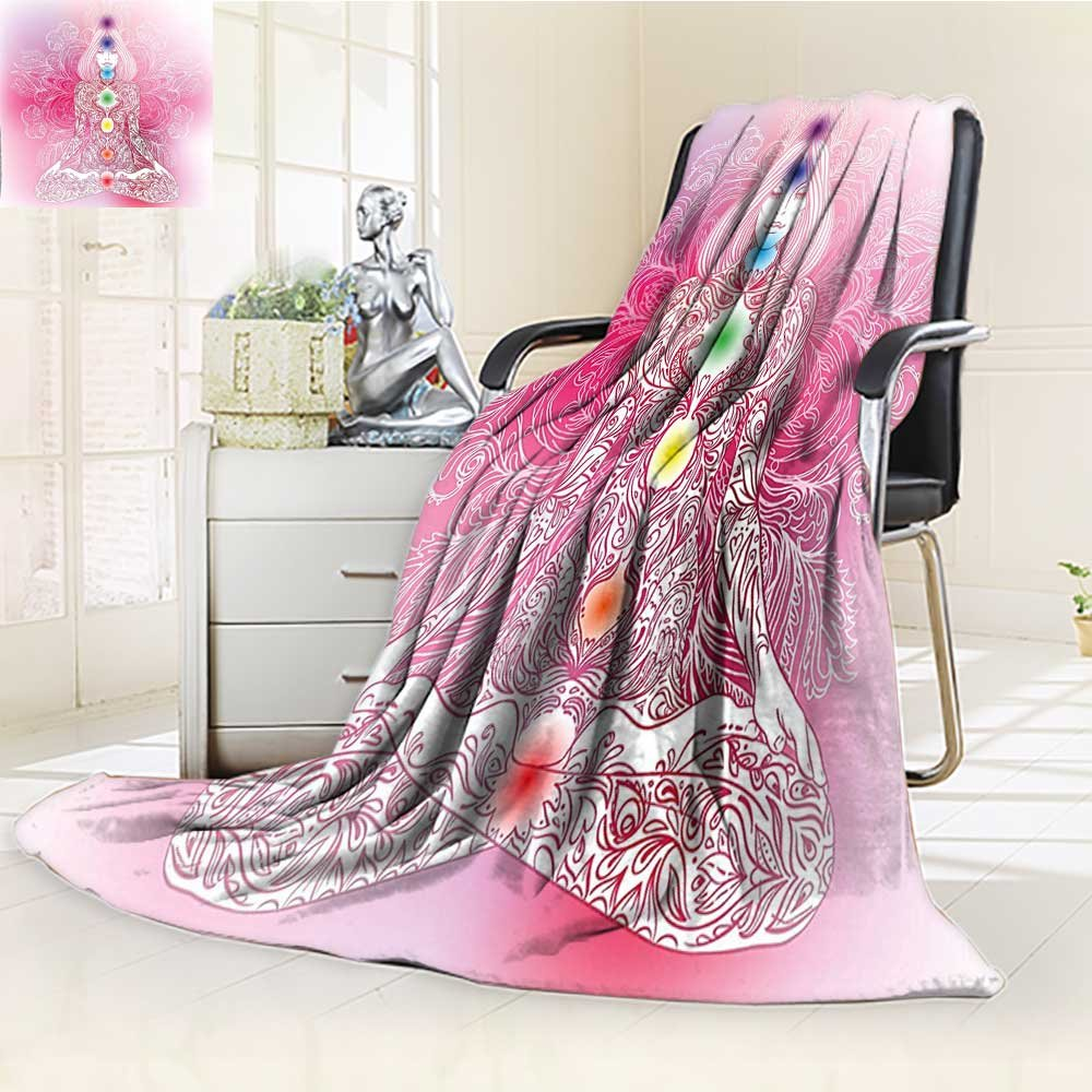 YOYI-HOME Lightweight Duplex Printed Blanket Chakra Mystic Female Character with Lace Embellished Lines Solar Balance Bohemian Soft Pink Digital Printing Blanket /W47 x H69