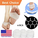 Metatarsal Pads, Ball of Foot Cushion (6 PCS) *NEW MATERIAL* Forefoot Pads, Breathable & Soft Gel, Best for Diabetic Feet, Callus, Blisters, Forefoot Pain. Can be sued for both feet For Men and Women.
