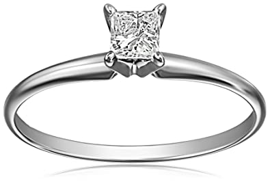 539b82d48 14k White Gold Princess-Cut Solitaire Engagement Ring (1/4 carat, I-J  Color, I1-I2 Clarity)