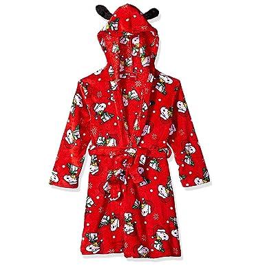 2cfbad9575 Amazon.com  Peanuts Snoopy Girls Holiday Fleece Hooded Bathrobe Robe  (Little Kid Big Kid)  Clothing