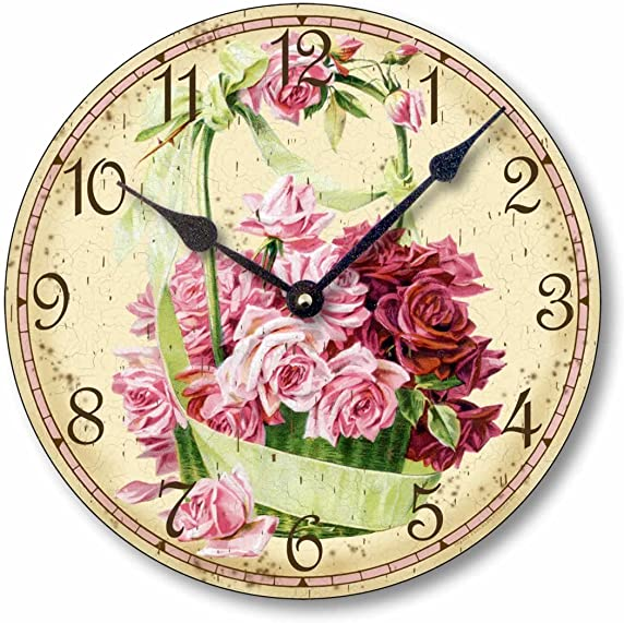 Fairy Freckles Studios Item C6017 Vintage Victorian Style 10.5 Inch Pink Rose Basket Clock