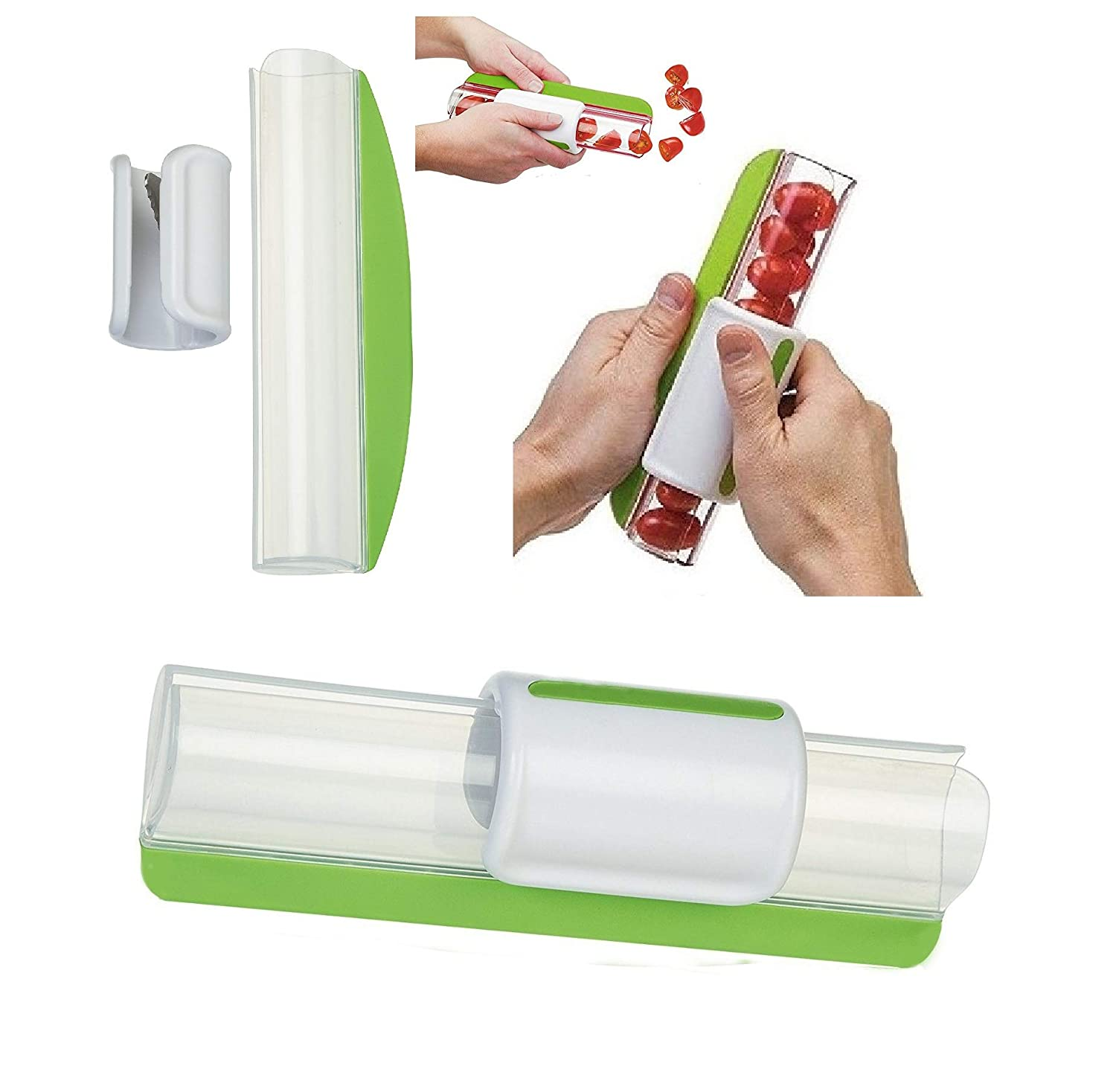 Latest 2018 Slicer For Cherry Tomatoes, Grape, Strawberry etc. - Fast and Easy Large Amount of Salad (GREEN) Tiger Eyes