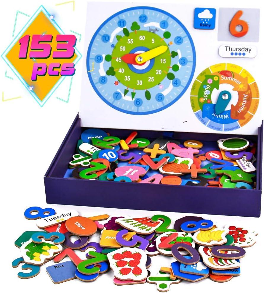 Juguetes Montessori Magnéticos Puzzle Madera Educativos Juegos de Mesa de Rompecabezas - Matemáticas, Forma, Temporada, Clima, Fecha y Hora Cognición 153 Piezas Juguetes Madera Puzzle Infantil Juego