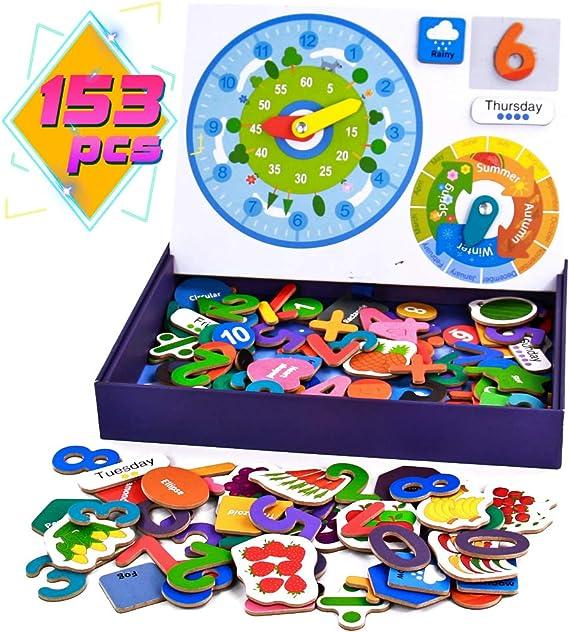 Juguetes Montessori Magnéticos Puzzle Madera Educativos Juegos de Mesa de Rompecabezas - Matemáticas, Forma, Temporada, Clima, Fecha y Hora Cognición 153 Piezas Juguetes Madera Puzzle Infantil Juego: Amazon.es: Juguetes y juegos