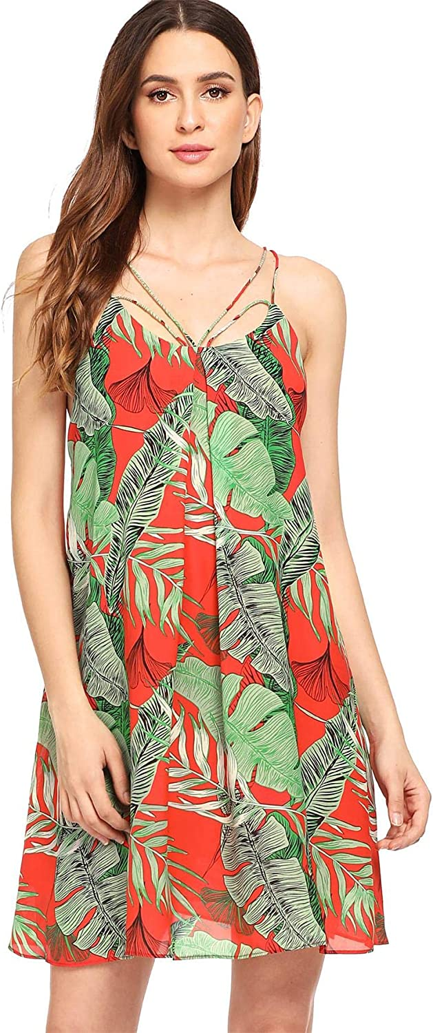 Women Floral Tropical Cami Strappy Prom Spot Dot Skater Dress Summer Holiday