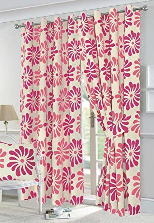 Petals Pink Floral Design Fully Lined Eyelet Curtains 60x90