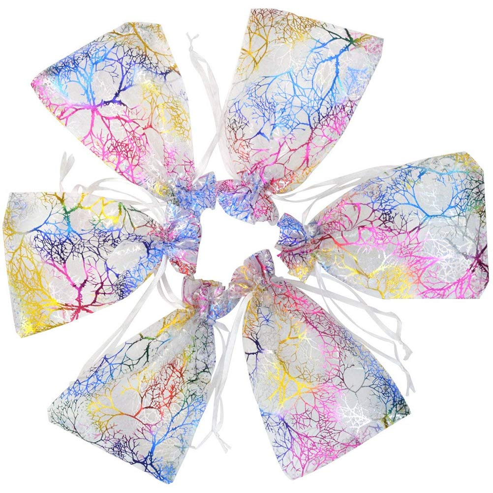 100 Pcs Coral Pattern Drawstring Organza Candy Bag Mixed Color Gift Bag Jewelry Bags Chocolate Bag Wedding Favor Christmas Gift