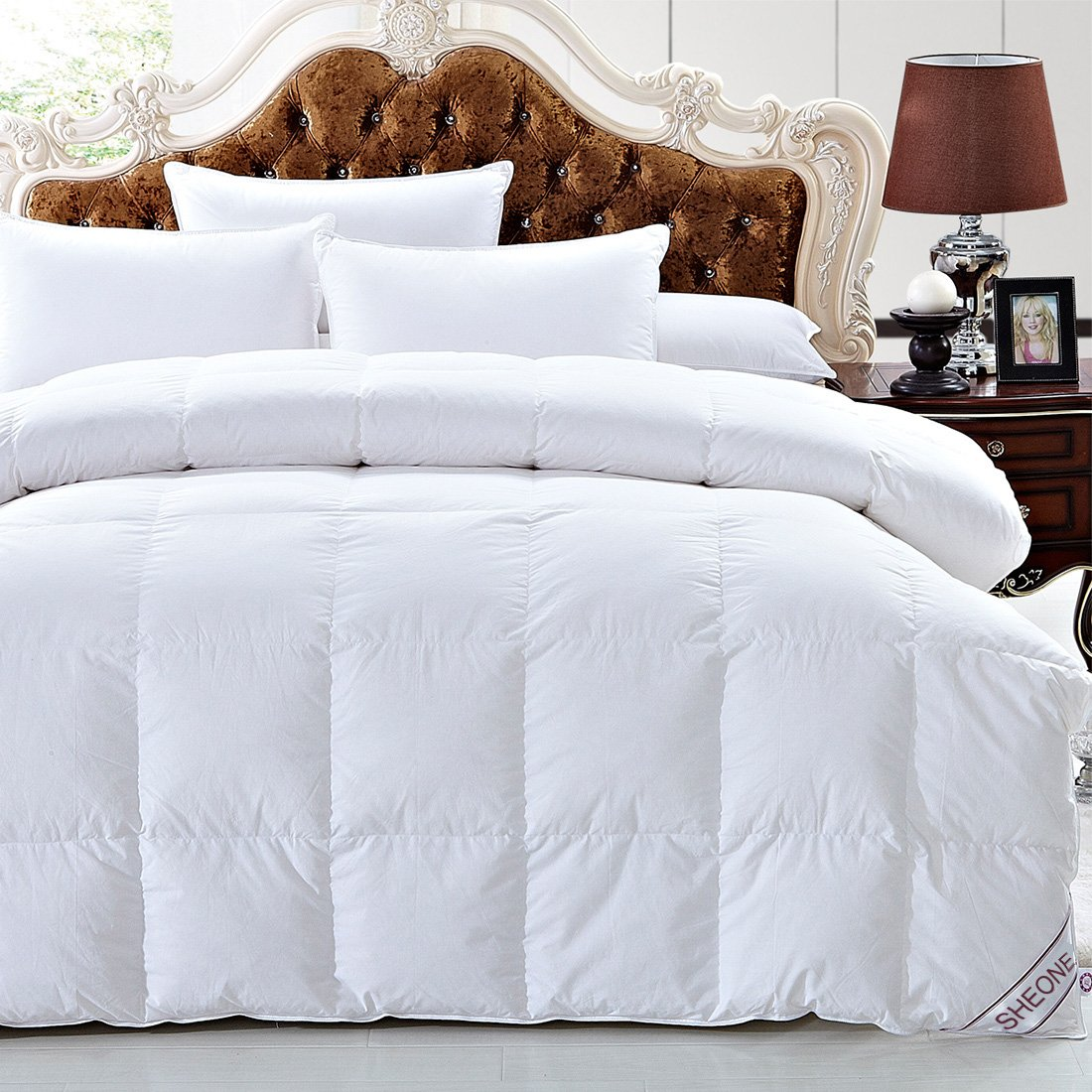 White Goose Down Comforter Full/Queen Size 600 Thread Count 100% Cotton 750+ fill power Shell Down Proof-Solid White Hypo-allergenic with Corner Tab by SHEONE (Image #2)