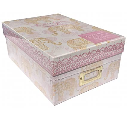 Genial Tri Coastal Design Photo Memory Storage Shoe Box, Pink Henna Elephant    Adventure Awaits