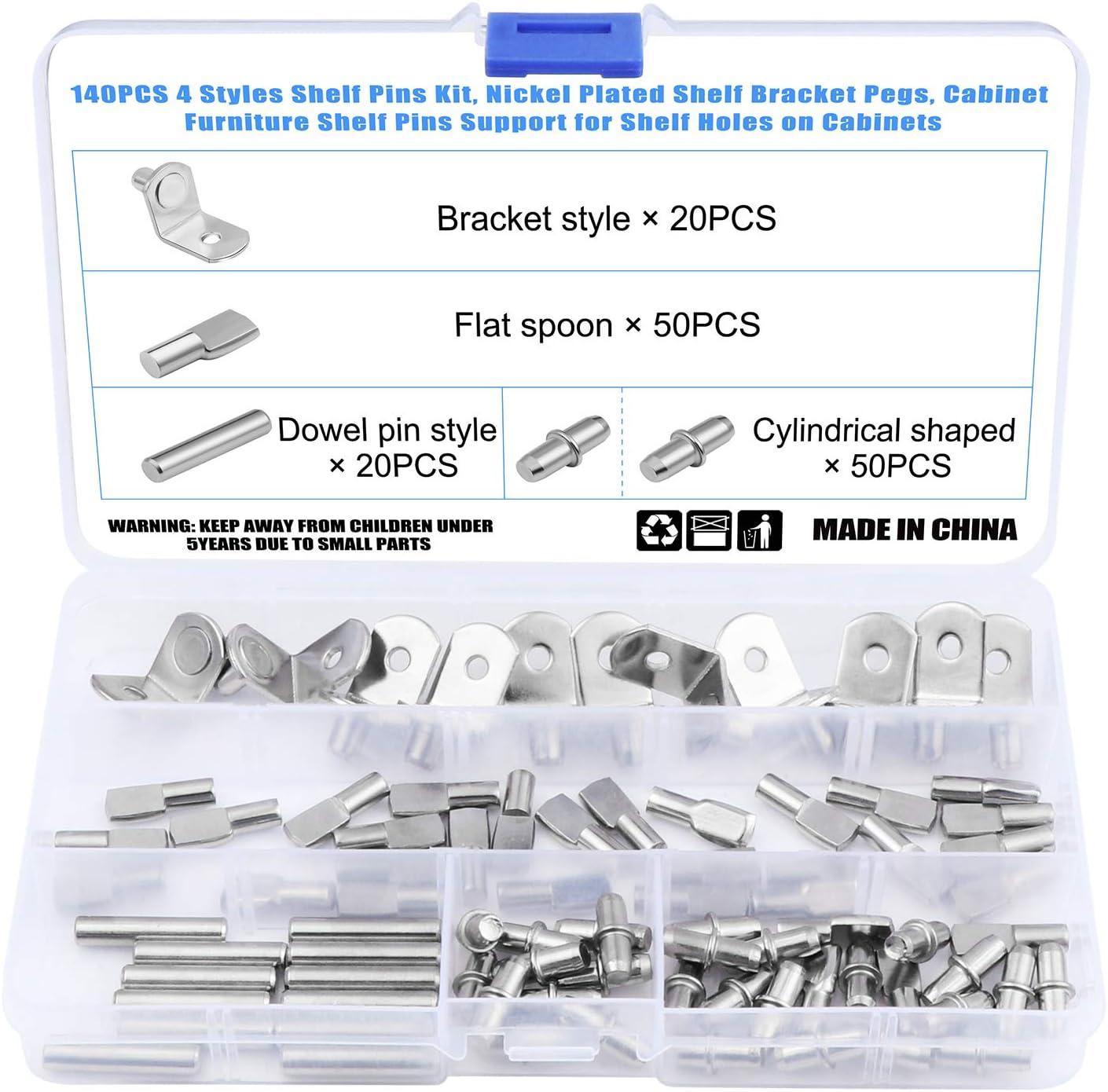 OCR 140PCS 4 Styles Shelf Pins Kit Nickel Plated Shelf Bracket Pegs Shelf Pins Support for Shelf Holes on Cabinet Furniture
