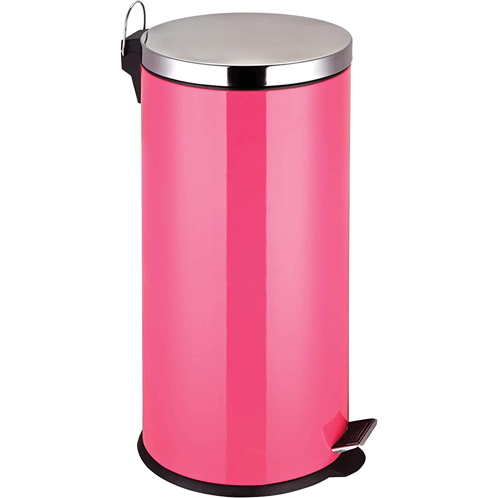 Premier Housewares 30 Litre Stainless Steel Hot Pink Pedal Bin
