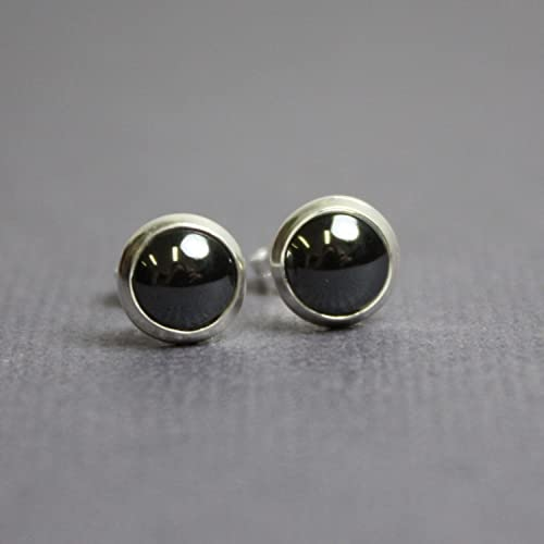 Amazon Com Hematite Stud Earrings Lab Created 6mm Sterling Silver