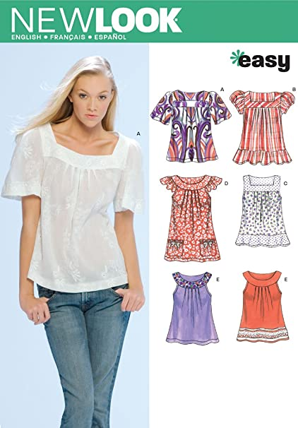 583f15525e6 Image Unavailable. Image not available for. Color: New Look Sewing Pattern  6705 Misses Tops, Size ...