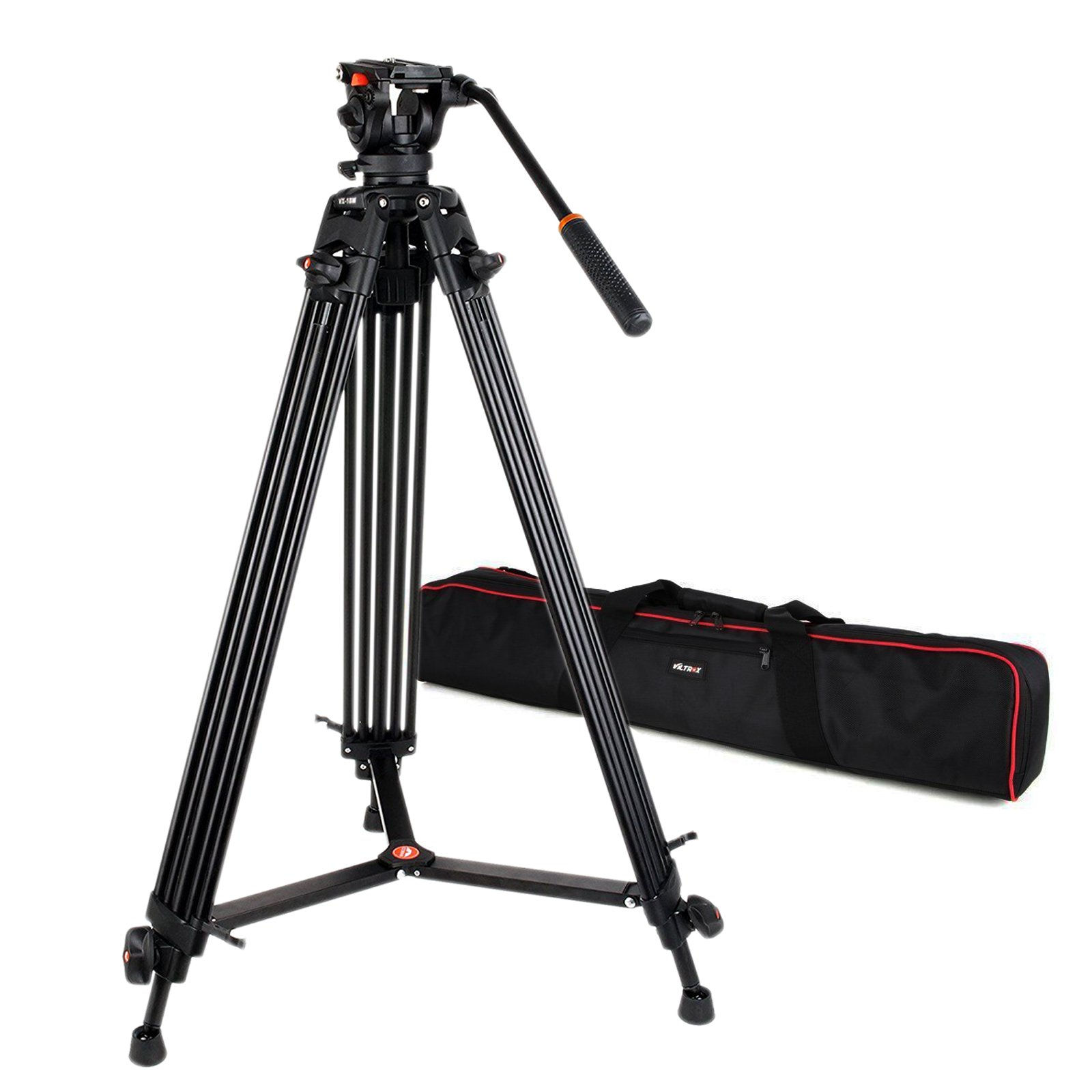 VILTROX VX-18M Professional Heavy Duty Video Camcorder Tripod with Fluid Drag Head and quick release plate , 74'' inch ,Max loading 10KG, with Carrying bag,Horseshoe Shaped bracket by VILTROX