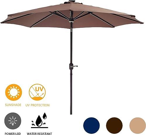LOKATSE HOME 8.8FT Outdoor Solar Powered Patio Umbrella with 8 LED Lights Bars, Aluminum Rib, Central Hug Light, Crank and Push Button Tilt for Garden, Deck, Market and Pool