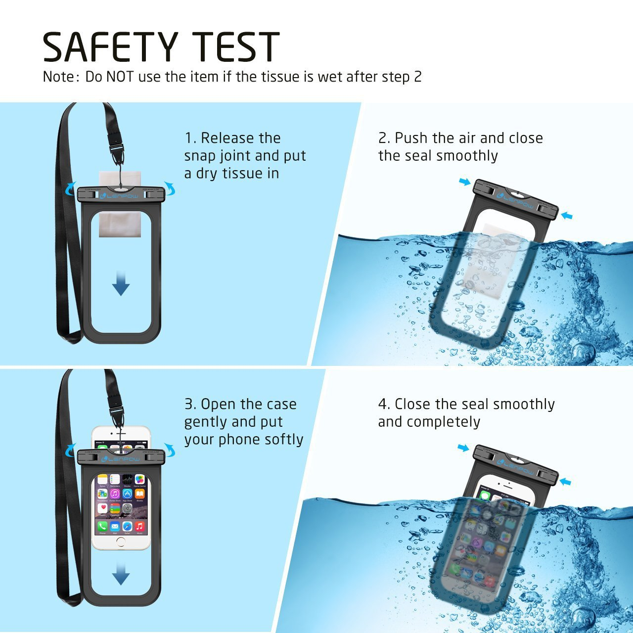 Firstbuy Universal Waterproof Case, 4 Pack waterproof phone pouch IPX8 Dry Bag For iPhone 8/7/7 Plus/6S/6/6S Plus/SE/5S, Samsung Galaxy S9 S8/S8 +/Note 6 5 4, Google Pixel 2 HTC LG Sony MOTO.