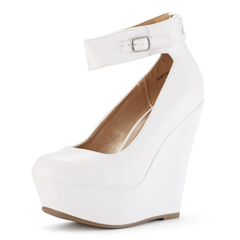DREAM PAIRS Women's Height-Ankle White Pu Elegant Ankle Strap Rear Zipper Closure Wedge Heel Platform Pumps Shoes Size 7.5 B(M) US