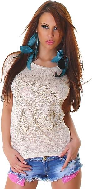 L-Mode Camiseta de Mujer con Camiseta de Manga Corta Semitransparente Kiss Me con Inscripción Remaches de Manga Corta de Moda