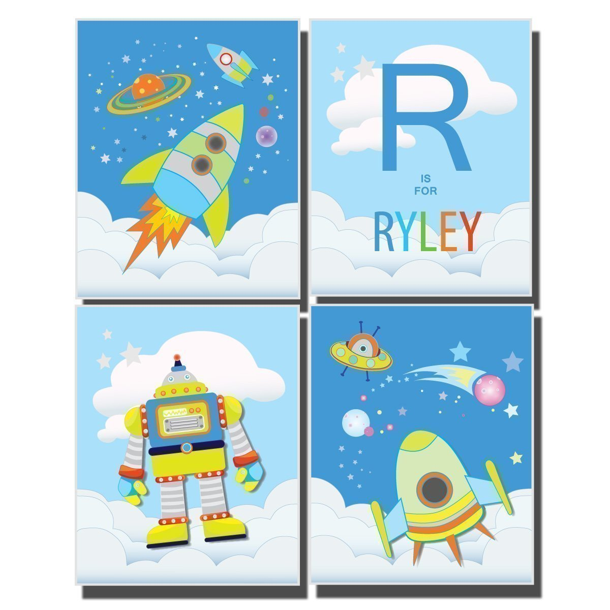amazon com boy s bedroom decor outer space wall art nursery amazon com boy s bedroom decor outer space wall art nursery rocket ship pictures solar system moon stars planets space man astronaut customize name letter