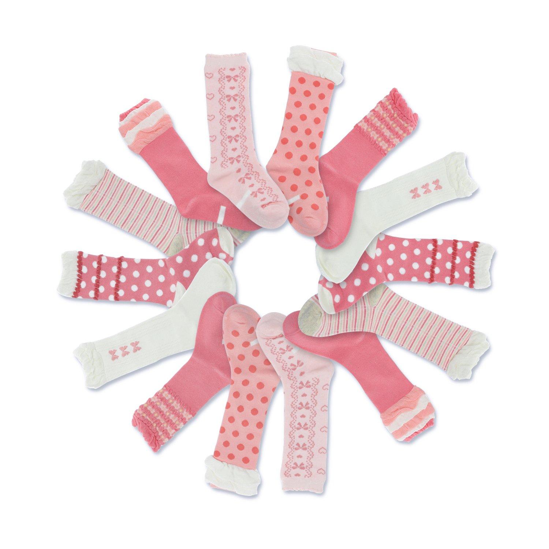Crew Socks for Girls, Picopaco Fashion Cotton No-slip Socks 7 Pairs