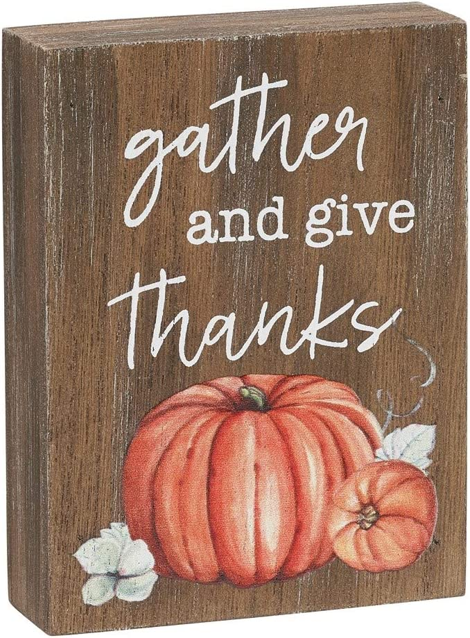 Collins Painting Mini Fall-Themed Wood Grain Block Sign (Gather and Give Thanks)