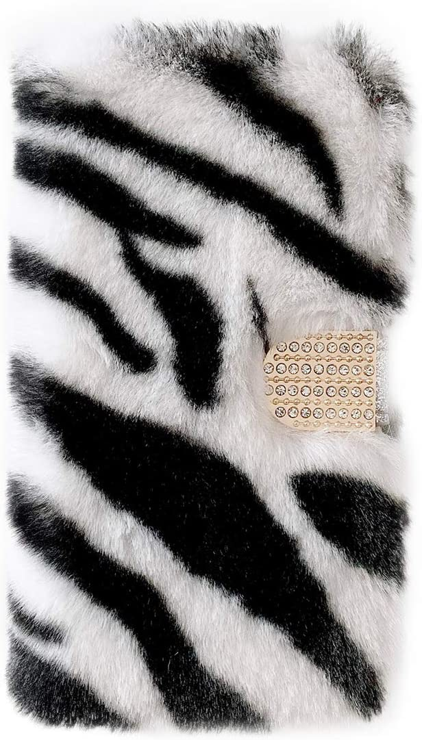 iPhone Xs Max Furry Flip Wallet Case Zebra White, iPhone Xs Max Fluffy PU Leather Magnetic Wallet Case with Card Holder & Stand