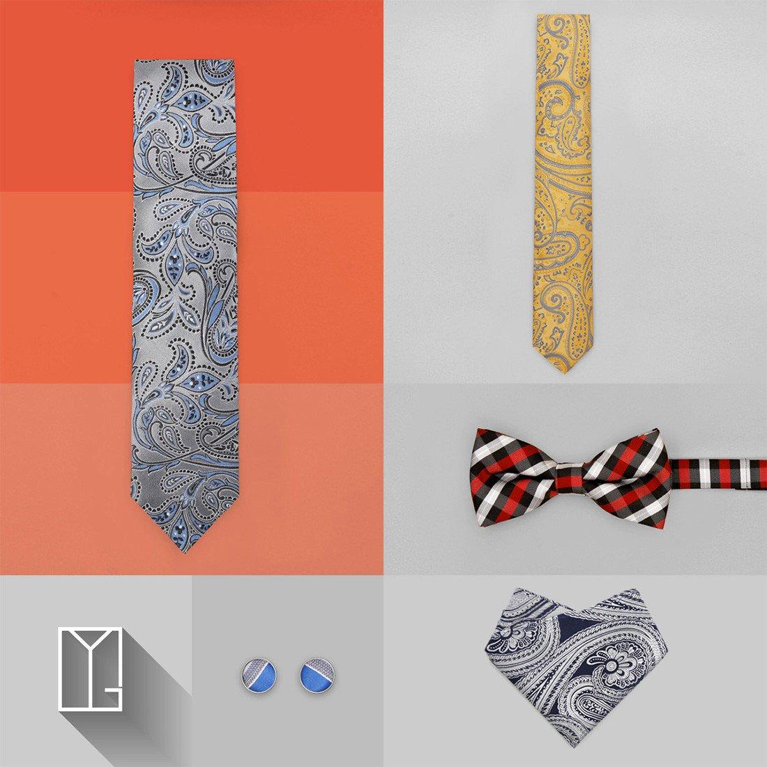 Y/&G Mens Fashion Multi-Colored Stripes Necktie Price Goods Mens Silk Tie Cufflinks Set 2PT