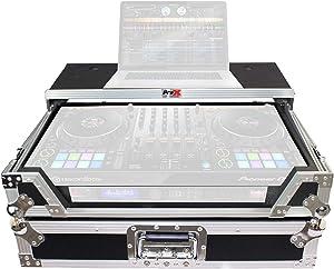 ProX ATA Flight Travel Hard Case for Pioneer DDJ-1000 DDJ1000SRT w/Glide Sliding Laptop Shelf, 1U Rack Space and Durable Rubber Wheels – Standard Silver on Black Style