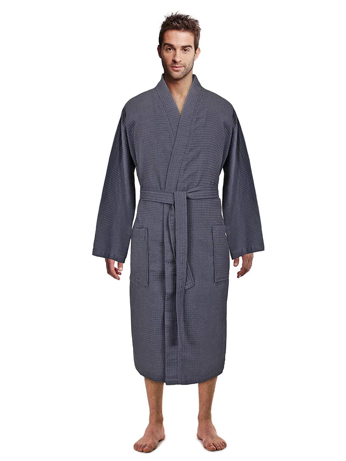 Premium Turkish Cotton Waffle Weave Lightweight Kimono Spa Bathrobe for Men Turkish Linen
