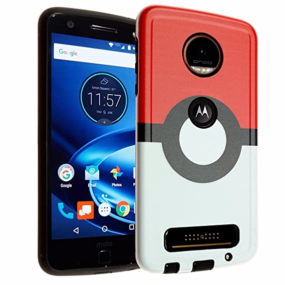 Moto Z Play Case, IMAGITOUCH 2-Piece Style Armor Case with Resilient TPU Shock Absorption Case and Pokemon Go Poke Ball Design Hard Cover Case Hybrid ...